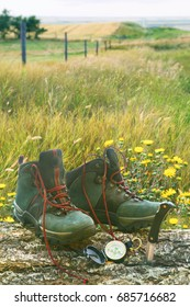 Hiking boots with knife and compass on tree log in field of wild flowers