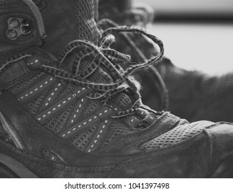 Hiking boots with laces open. Close up macro shot