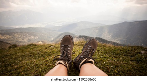 Hiking boots on a mountain tour in Bavarian Alps