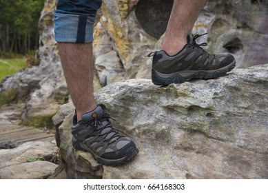Hiking boots on the rock