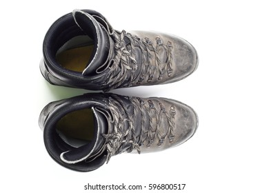 Hiking boots, top view, isolated over white