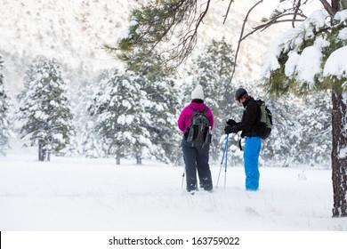 Hiking Break (Couple hiking in snowshoes take a break under a tree)