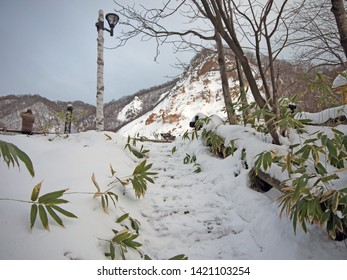 Hiking by Jigokudani hell valley footpath in Noboribetsu