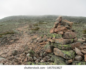 Hiking in the clouds in Maine, this is the trail to the peak of Mt Katahdin, the end of the Appalachian Trail