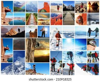 hiking collage