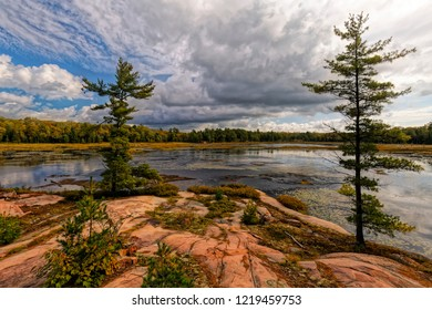 Hiking the Cranberry Bog Trail in Killarney Provincial Park in Northern Ontario.