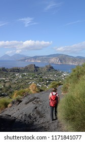 Hiking at the crater of Vulcano