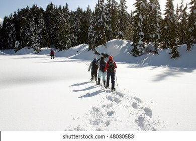 Hiking cross the snow mountain in BC, Canada.