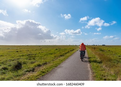 Hiking and cycle path through the salt marshes near St Peter-Ording in North Friesland in Germany.