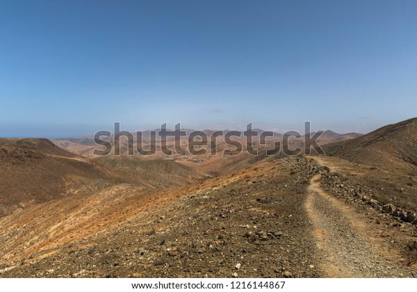 Hiking desert in Fuerteventura