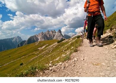 Hiking in dolomites mountains
