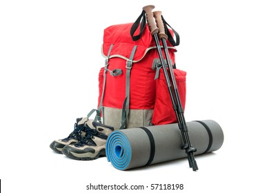 hiking equipment, rucksack, boots  and slipping pad