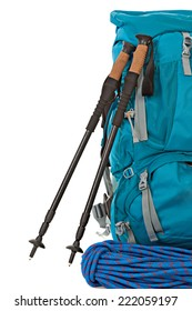 Hiking equipment, rucksacks, poles, and rope. Isolated on white background.