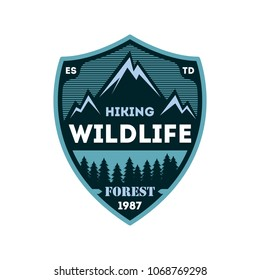 Hiking expedition vintage isolated badge. Outdoor adventure symbol, mountain and forest explorer, touristic extreme trip label illustration