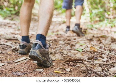 hiking in the forest, closeup of feet of hiker, summer trekking