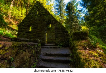 Hiking in Forest Park west of downtown Portland Oregon this abandonded stone structure.