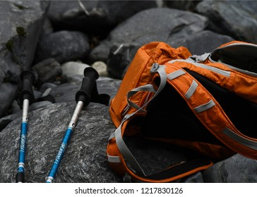 Hiking gear on rocks