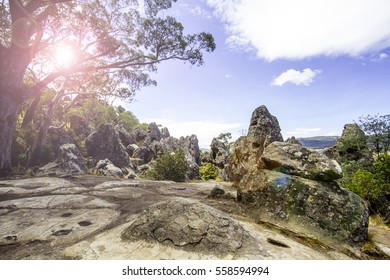 Hiking, Hanging Rock reserve, Victoria, Australia.
