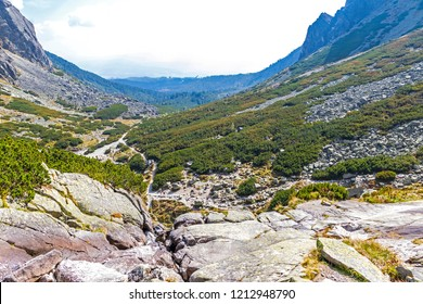 Hiking in High Tatras Mountains (Vysoke Tatry), Slovakia. Mlynicka Valley. Over the Skok waterfall (Slovak: Vodopad Skok). 1789m.