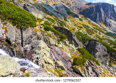 Hiking in High Tatras Mountains (Vysoke Tatry), Slovakia. Skok waterfall (Slovak: Vodopad Skok). 1789m. One of the most beautiful Tatra waterfalls. The seasonal closure is from Nov 1 to June 15