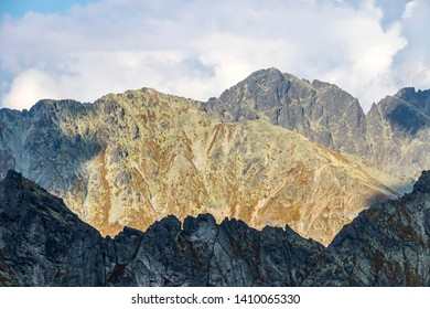 Hiking in High Tatras Mountains (Vysoke Tatry), Slovakia. Evening view of mountain peaks from Furkotsky Stit mount (2403m)