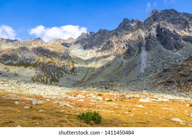 Hiking in High Tatras Mountains (Vysoke Tatry), Slovakia. Mlynicka Valley. On the way to Furkotsky Stit mount (2403m). Mount Satan (2421m) on the right on background
