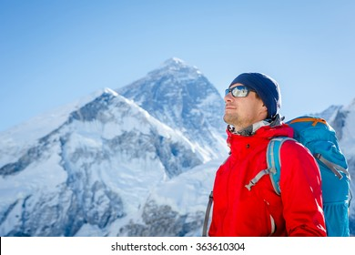 Hiking in Himalaya mountains. Face to face with mount Everest, Earth's highest mountain. Travel sport lifestyle concept