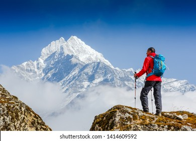 Hiking in Himalaya mountains. Travel sport lifestyle concept
