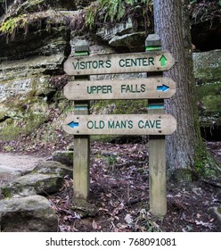 Hiking In Hocking Hills. Directional sign on trail in the Old Mans Cave area of Hocking Hills in Ohio. One of the most visited state parks in Ohio, is notable for it's rugged terrain and scenery.