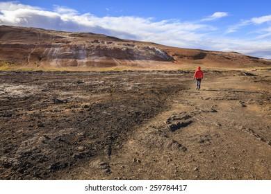 Hiking in Hverir - geothermal field in Northern Iceland