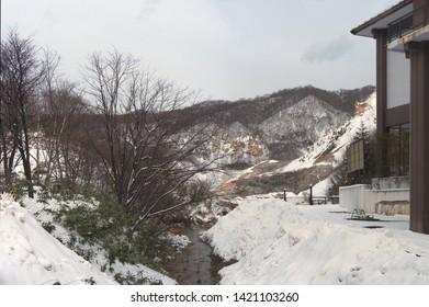 Hiking in Jigokudani hell valley in Noboribetsu