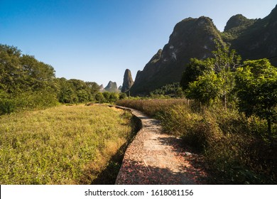 Hiking in the Karst mountains in Guilin region of South China, close to Xingping village, Li River, Asia
