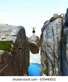 Hiking kjerag mountain, Norway.