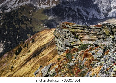 Hiking to the Kreuzjoch in the hiking area Golm by Tschagguns in the Austrian federation state Vorarlberg.