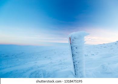 hiking marker on way to summit of mountain Saana, Lapland, Finland, Kilpisjärvi