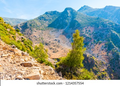 Hiking in Morocco's Rif Mountains under Chefchaouen city, Morocco in Africa