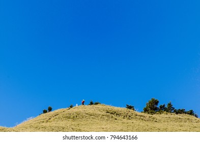 Hiking in the mountain with blue sky