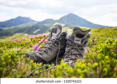 Hiking mountain boots , trekking and hiking equipment footwear for outdoor mountain trails