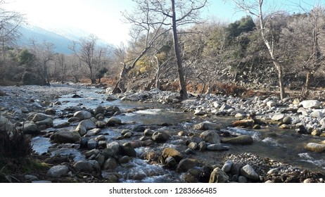 Hiking in mountain river Fonias in the island of Samothrace, Greece