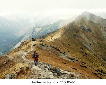 Hiking in the mountains, autumn, clods