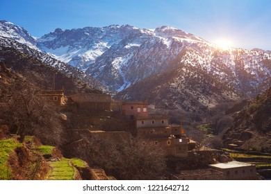 Hiking in mountains of Morroco, High Atlas, Toubkal national park