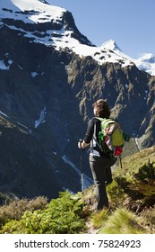 Hiking in the mountains of New Zealand
