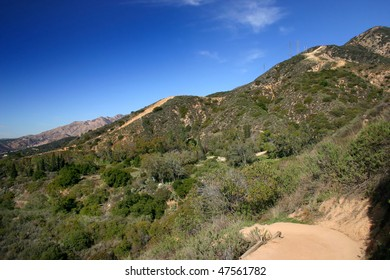 hiking in the mountains of southern California around the city of Los Angeles