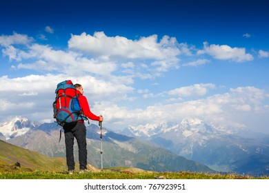 Hiking in the mountains. Travel, lifestyle, sport concept
