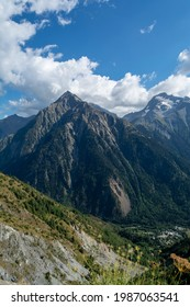 Hiking near ski station Les deux Alpes and view on Alpine mountains peaks in summer, Les Ecrins range, Isere, France - Shutterstock ID 1987063541