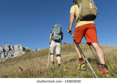 Hiking and nordic walking in the summer - dolomite