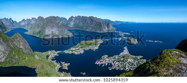 Hiking on the Lofoten with a view of Reine