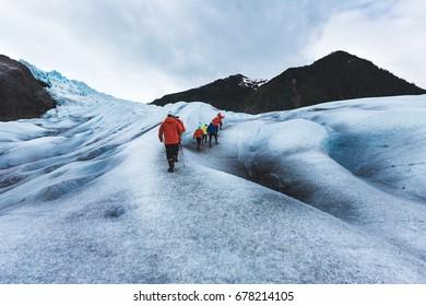 Hiking on Mendenhall Glacier, Juneau, Alaska