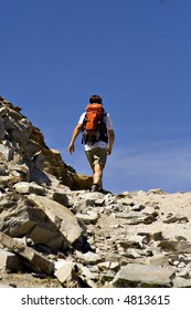 Hiking on the mountains with clear blue sky