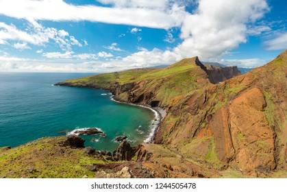 Hiking on Ponta de Sao Lourenco peninsula, Madeira island, Portugal
